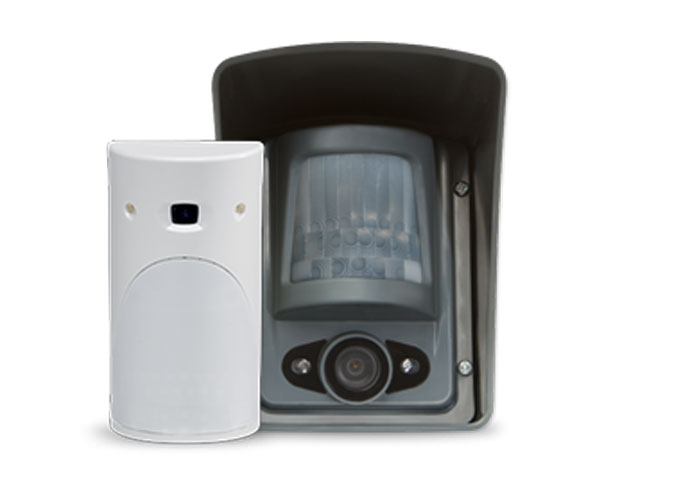 close up of videofied alarm and sensor