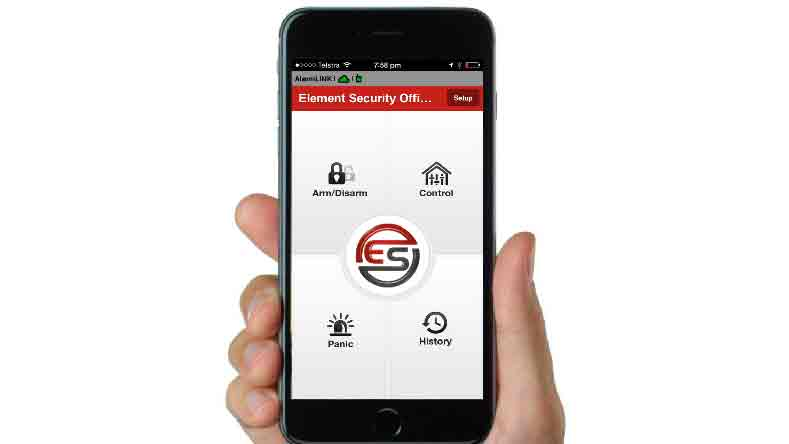 hand holding iphone showing home security app