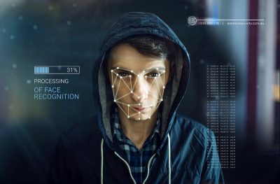 facial recognition software analysing a male face
